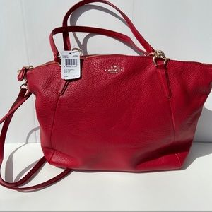 Coach Classic Red Pebble Leather Kelsey Satchel